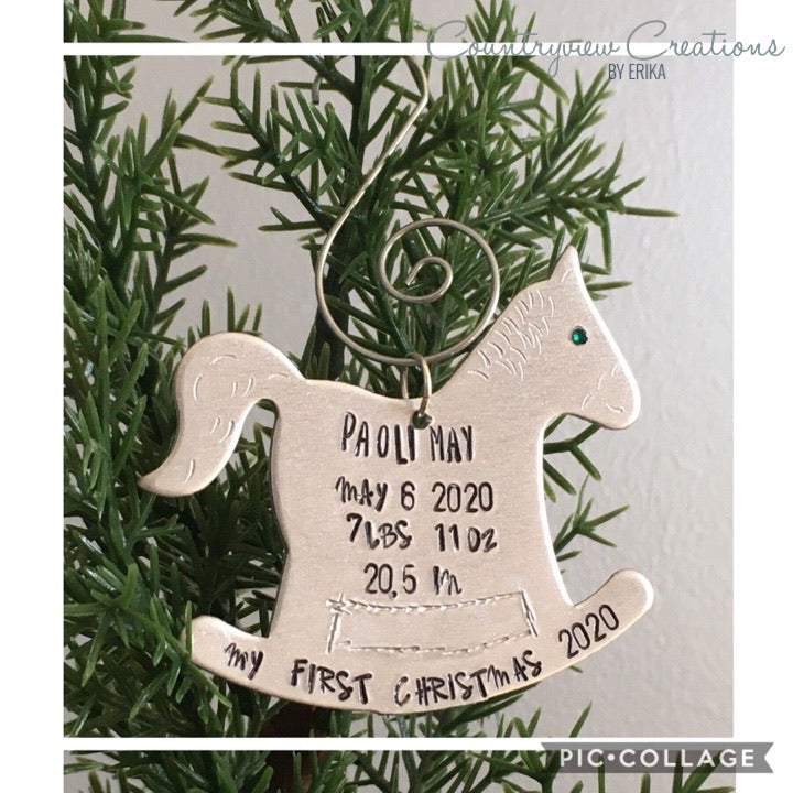 Rocking Christmas Ornament. Rocking Horse birth stats- My first Christmas