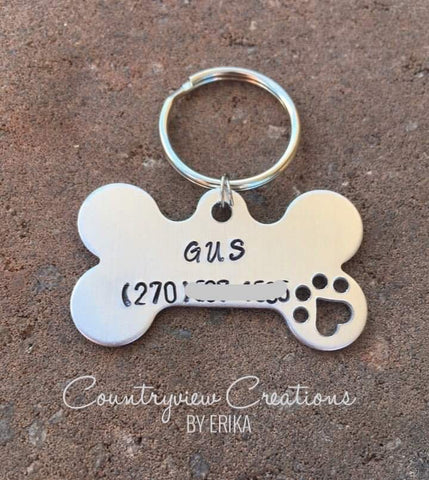 Dog Bone Name Tag. Handstamped keychain