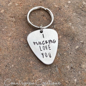 I Plucking Love You keychain