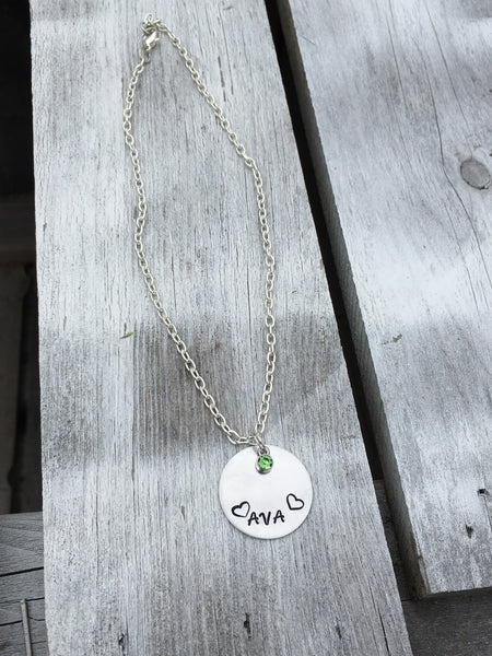 Name & Birthstone Handstamped Necklace.