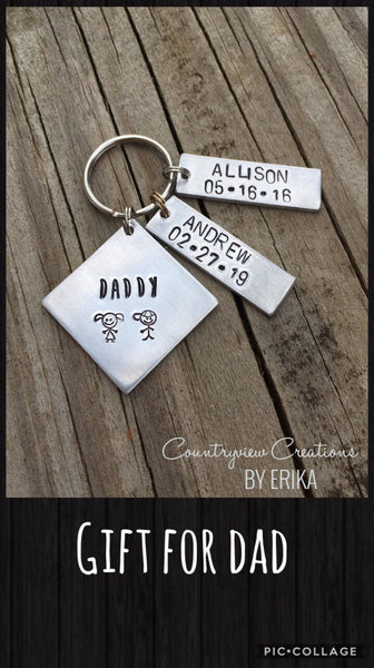 Father's Day keychain (kids name & birthdays)