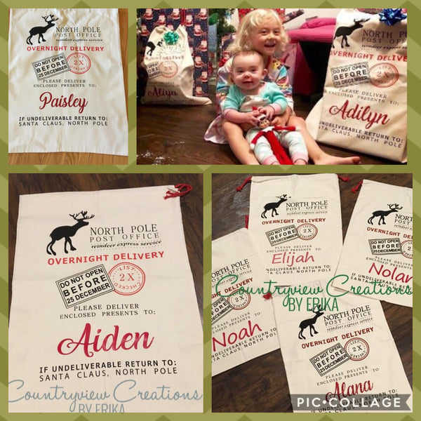 Canvas Personalized Santa Bag.