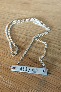 Handstamped Volleyball Necklace.