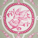 15×21cm ファブリックパネル Chinoiserie Birds Green×Pink