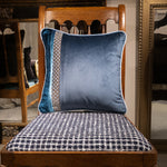 42cm角 コラージュクッション Deep Blue Dot & Damask with Piping