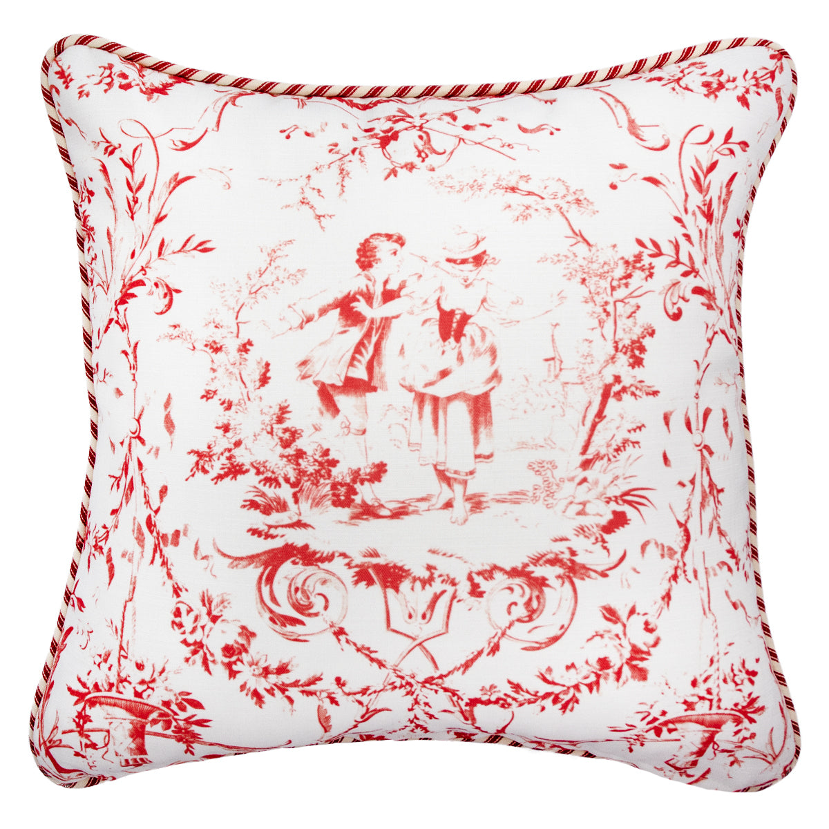 42cm角 コラージュクッション  Toile de Jouy with Piping #Red&White