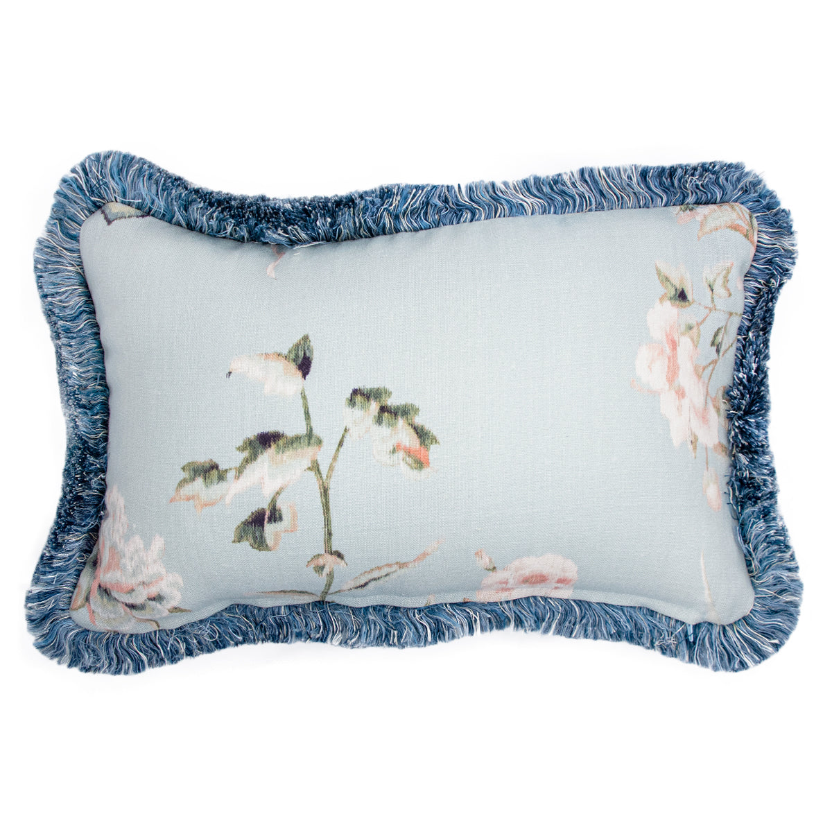 47x32cm角 コラージュクッション Blue Sky Garden with Blush Fringe