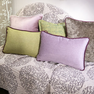 47×32cm角 コラージュクッション Harlequin Ethnic Green&Purple with Piping-A