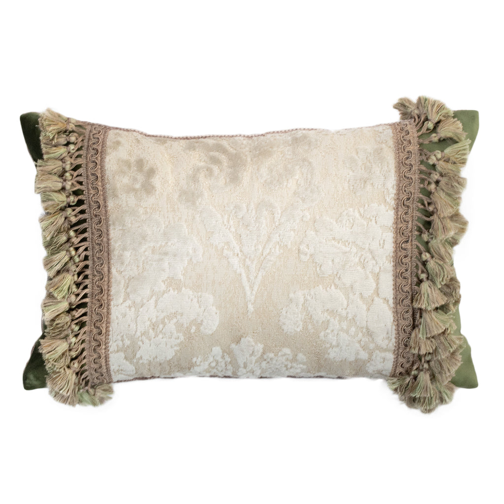 47x32cm角 コラージュクッション White Damask with Green Fringe Accent