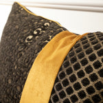 コラージュクッション Black Arabesque & Dot with Gold Piping