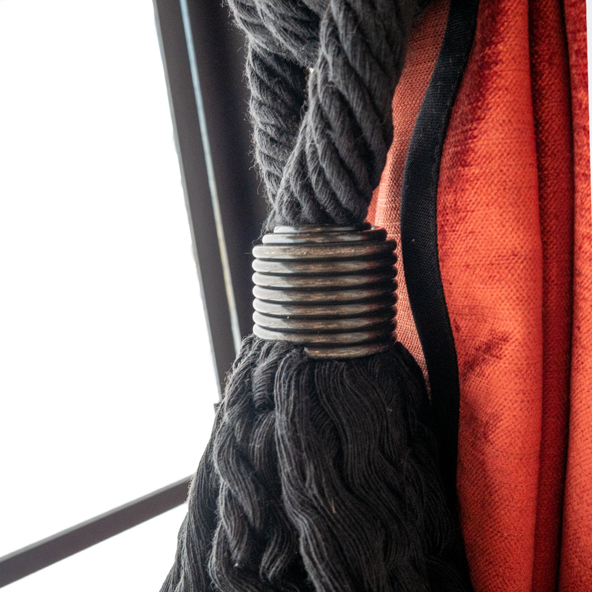 タッセル Cotton Rope With Metal Ornament #Black