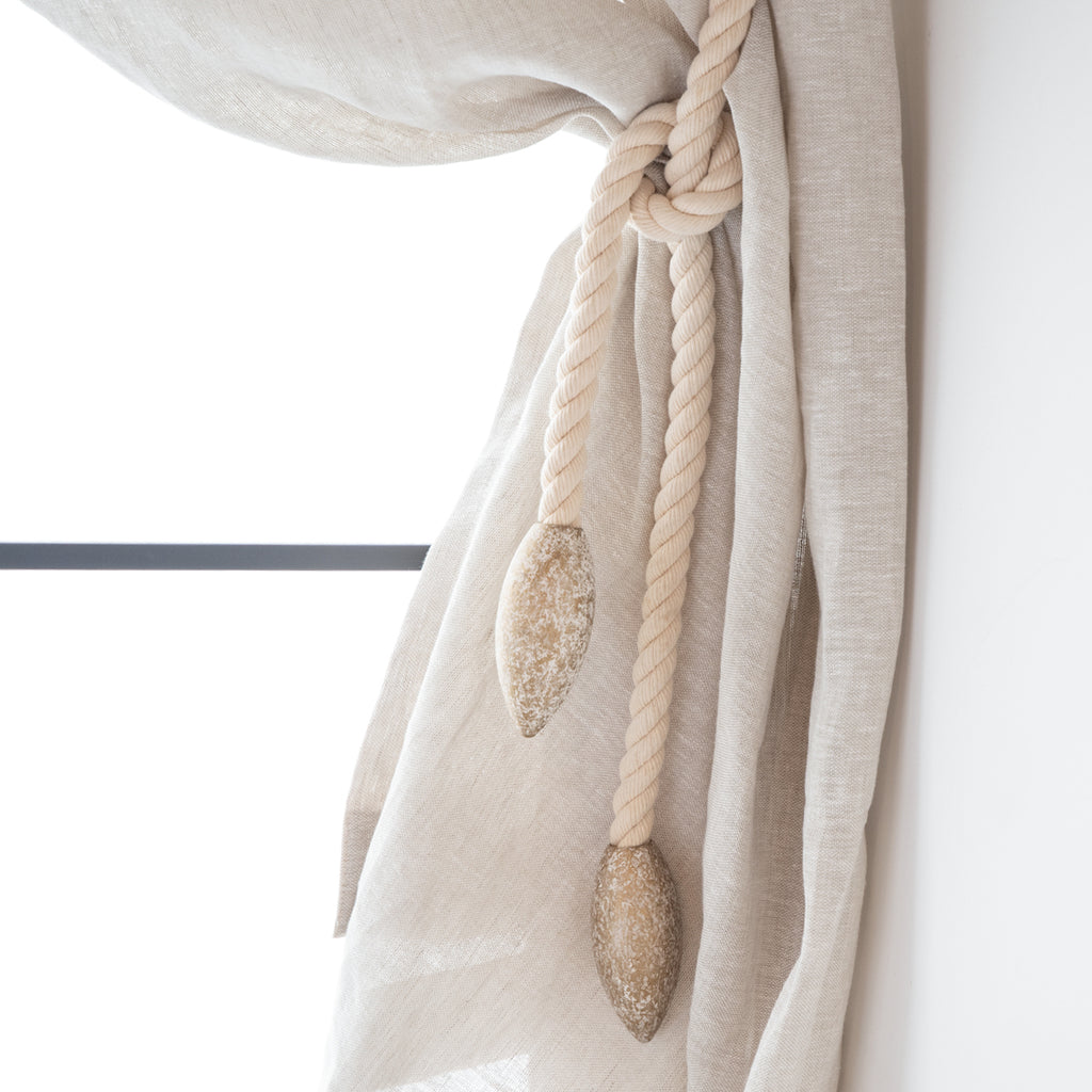 タッセル Cotton Rope With Shabby Wood #White