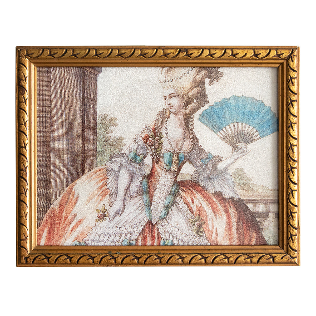27×21cm アンティークフレーム Gold Frame Lady with Fan