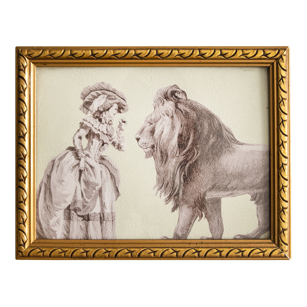 27×21cm アンティークフレーム Gold Frame Lady with Lion