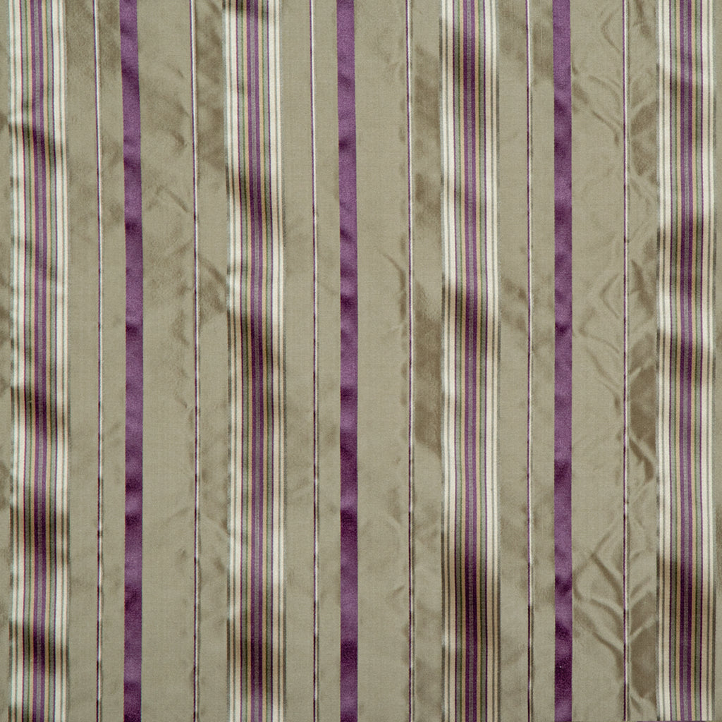 ファブリック Silk Stripe Purple&Khaki