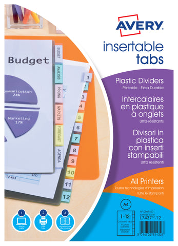 Intercalaires à onglets personnalisables A4