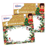 Lot de 12 marque-places de Noël traditionnels floral