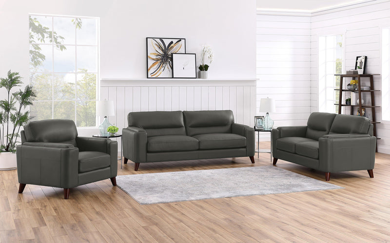 Elm Leather Sofa Sets-Sofa, Loveseat, Chair-Steel-Hydeline USA