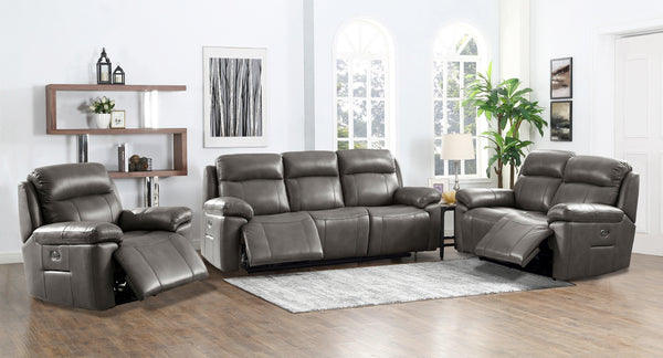 Riverside Leather Power Sofa Sets-Sofa, Loveseat, Recliner-Gray-Hydeline USA