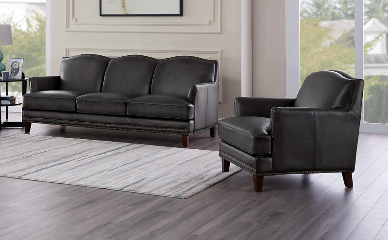 Oxford Leather Sofa Sets-Sofa, Chair-Ash Gray-Hydeline USA