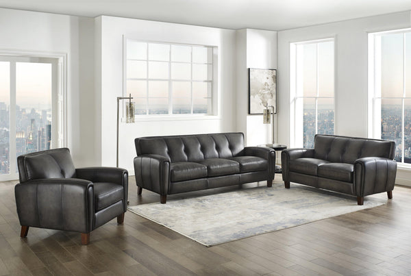 Weldon Leather Sofa Sets-Sofa, Loveseat, Chair-Ash Gray-Hydeline USA