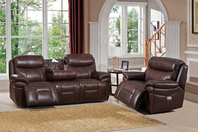 Springfield Leather Power Sofa Sets-Sofa, Chair-Brown-Hydeline USA