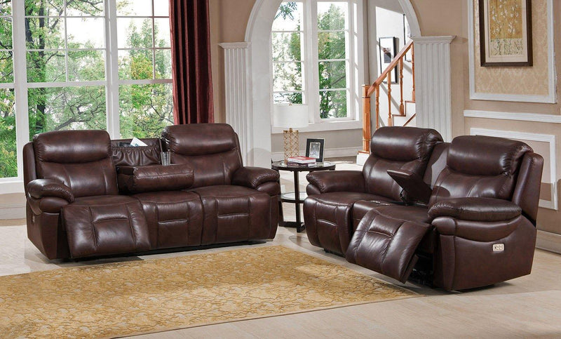 Springfield Leather Power Sofa Sets-Sofa, Loveseat-Brown-Hydeline USA