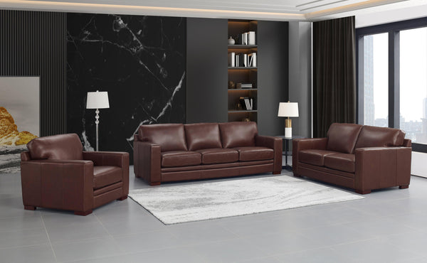 Dillon Leather Sofa Sets-Sofa, Loveseat, Chair-Brown-Hydeline USA