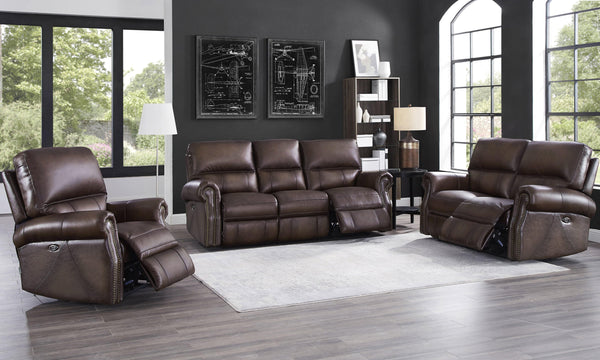 Raymond Leather Power Sofa Sets-Sofa, Loveseat, Recliner-Brown-Hydeline USA