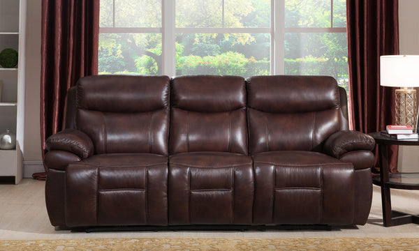 Springfield Leather Power Headrest Reclining Sofa-Sofa-Brown-Hydeline USA