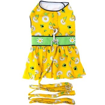 Ladybugs And Daisies Dress With Matching Leash
