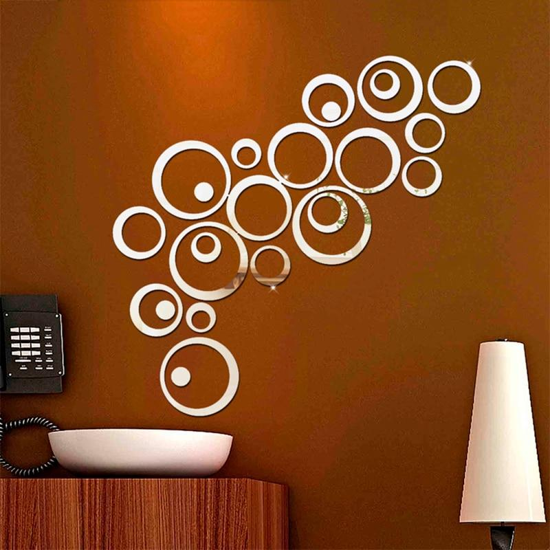 24pcs/set 3D DIY Silver Circles Wall Decor