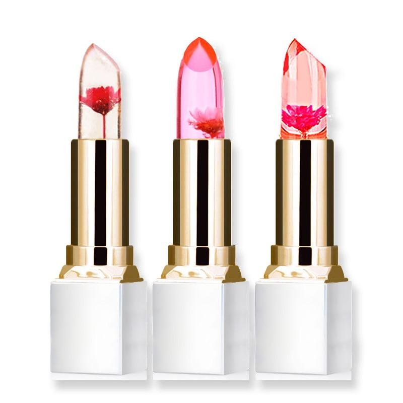 Color Changing Flower Jelly Lipstick! Seals And Moisturizes Your Lips!