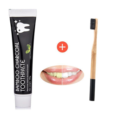 Organic & Sustainable Bamboo Activated Charcoal Teeth Whitening Toothpaste +  Toothbrush Kit