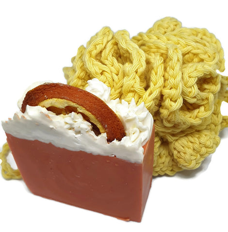 Cotton loofah and luxury soap by colour swirls