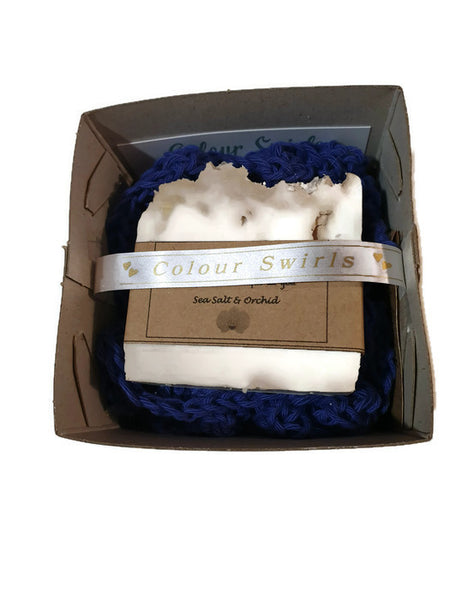 100% cotton handcrafted loofah and soap gift set by colour Swirls