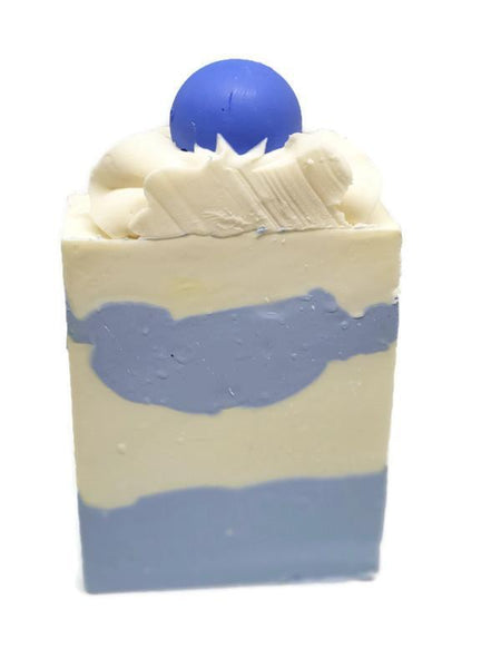 Luxury handcrafted soaps by colour swirls. Blueberry fragrance. Piped topping with gumball