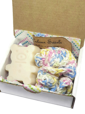 fragrance and colour free teddy bear soap. mini cotton loofah. baby shower gift set