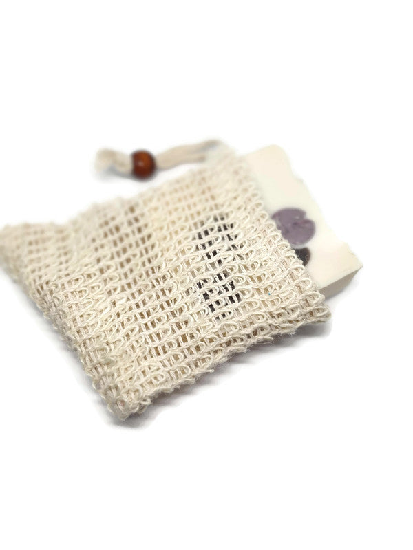 cotton pouch to use with soap to exfoliate the body