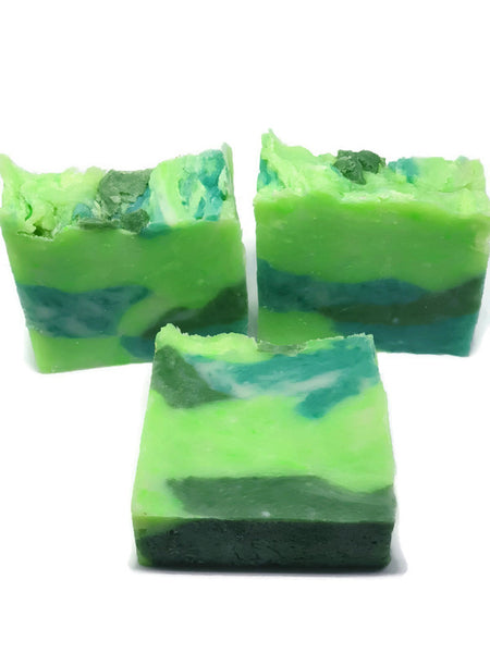 Manly soap fragranced with cypress and Bayberry. Camo colours