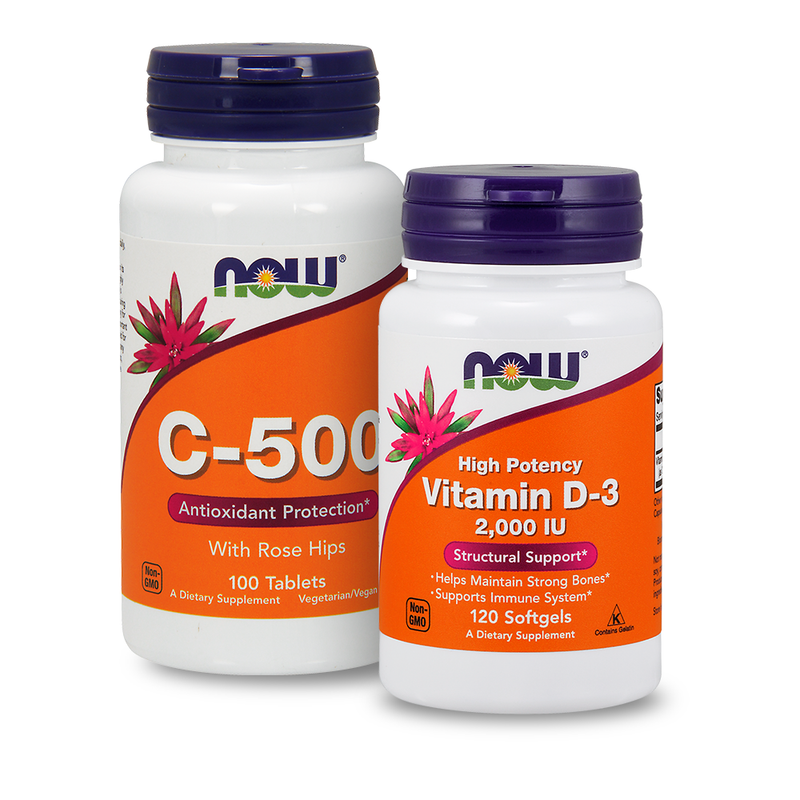 NOW Foods Vitamin C C-500 + Vitamin D3 2000iu - Value Pack