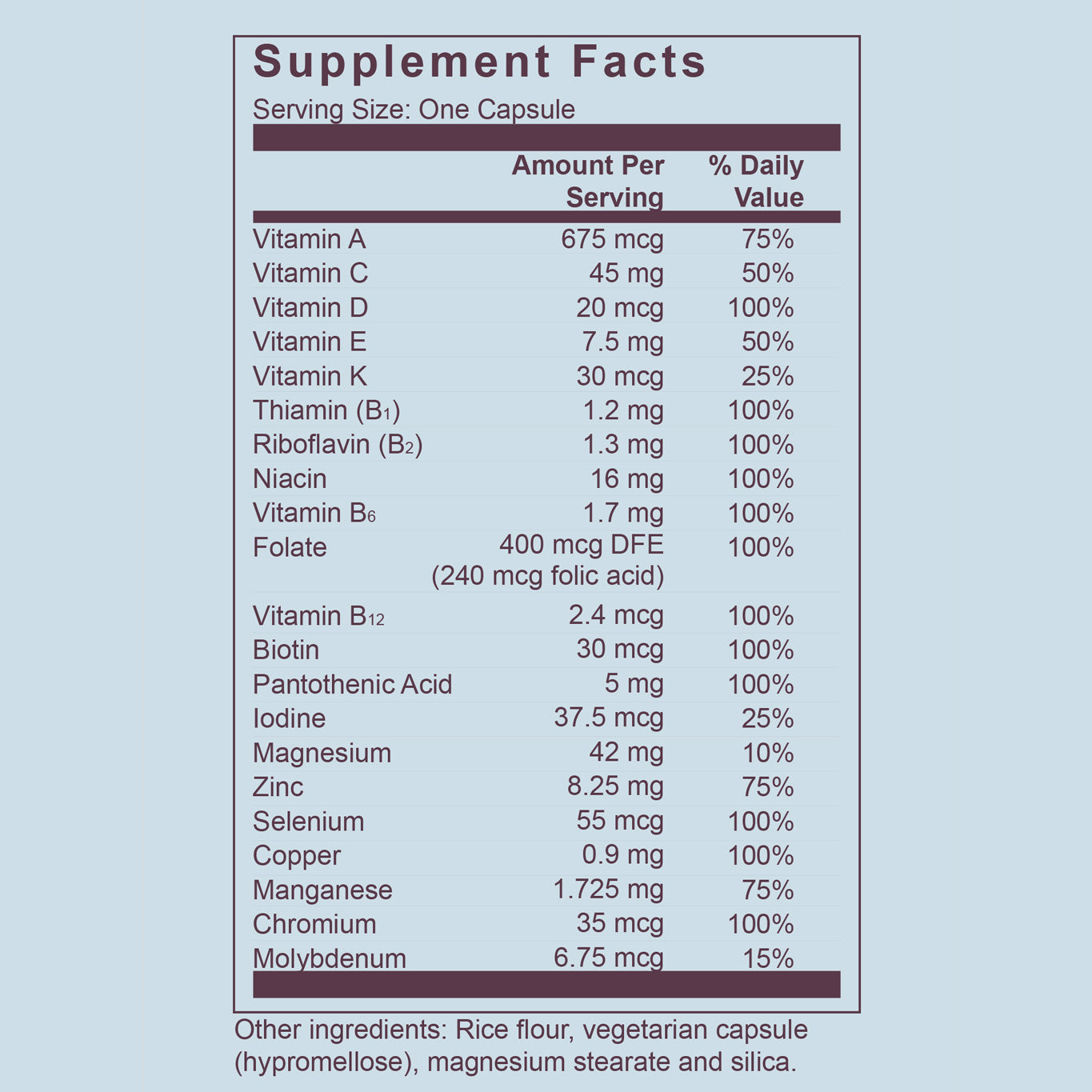 Dosely For Him Supplement Fact Panel