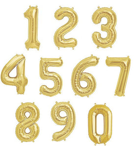 Gold Shape Number Foil Balloon