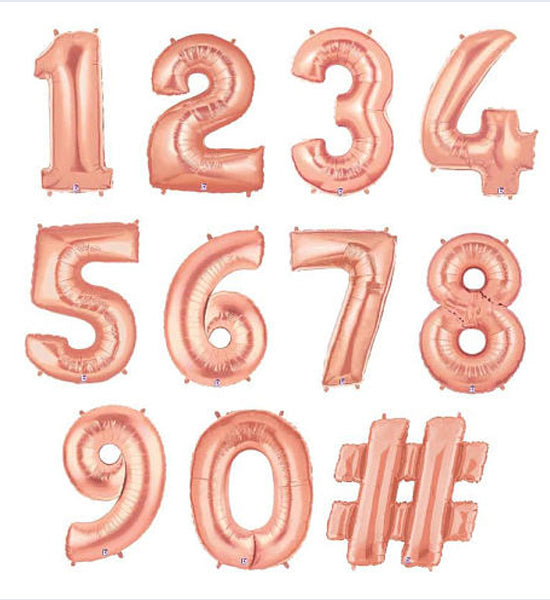 Rose Gold Shape Number Foil Balloon