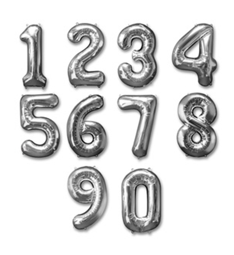 Silver Shape Number Foil Balloon