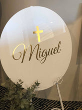 Custom acrylic round sign & easel