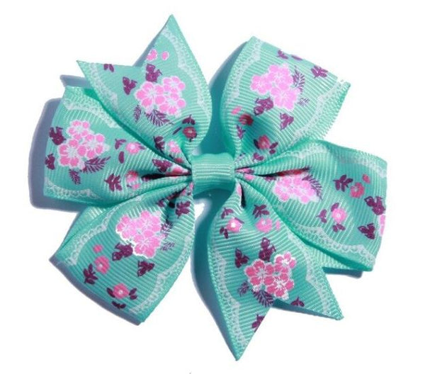 "3.2"" Hair Bow With Flower Girls Grosgrain Ribbon HairBow with Clips Hairpin Girls Hair Accessories"