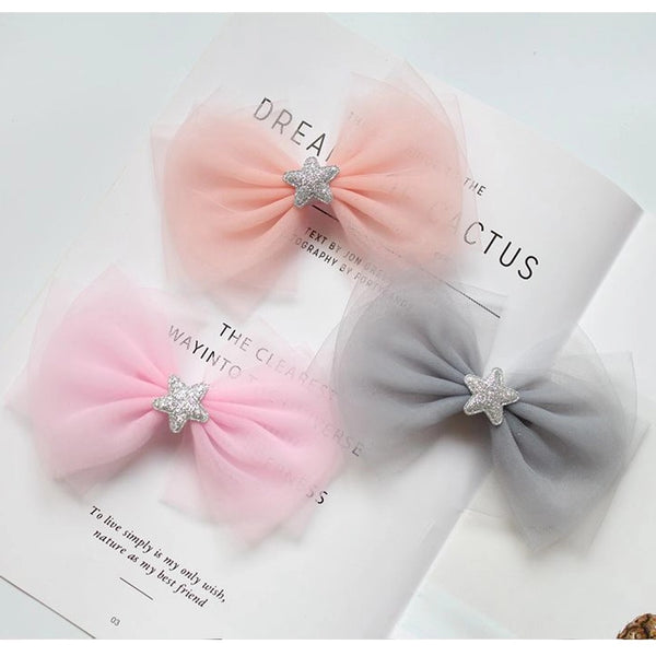 Fashion Cute Glitter Star Big Bow knot Hair Clips Princess Headwear Hair Accessories