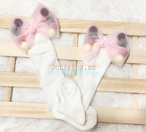 Girls White & Pink Pom Pom Long Socks