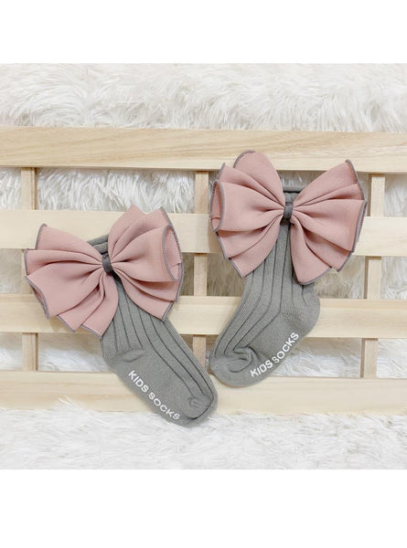 Pink & Grey Big Bow Anti Slip Socks